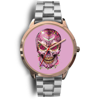 Mayle Rose Gold Skull Watch-Rose Gold Watch-wc-fulfillment-Mens 40mm-Silver Metal Link-SKULLZOPHRENIA