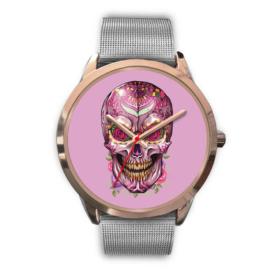 Mayle Rose Gold Skull Watch-Rose Gold Watch-wc-fulfillment-Mens 40mm-Silver Metal Mesh-SKULLZOPHRENIA