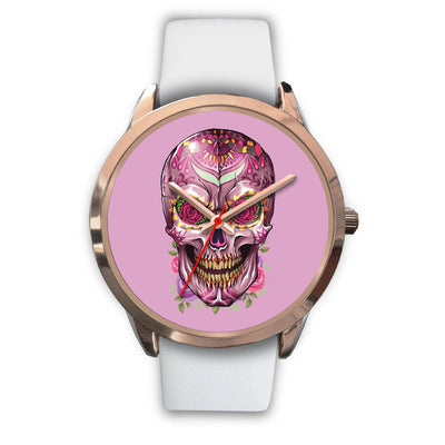 Mayle Rose Gold Skull Watch-Rose Gold Watch-wc-fulfillment-Mens 40mm-White Leather-SKULLZOPHRENIA