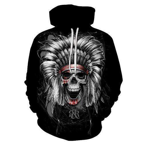 Native Chief - 3D Skull Hoodie-Hoodie-SKULLZOPHRENIA-Native Chief-S-SKULLZOPHRENIA