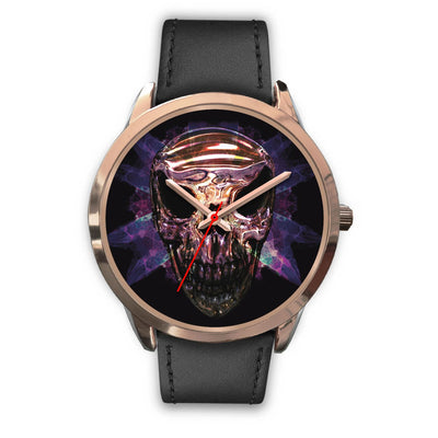 OKIKANA GOLD SKULL WATCH-Rose Gold Watch-wc-fulfillment-Mens 40mm-Black Leather-SKULLZOPHRENIA