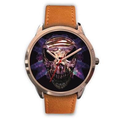 OKIKANA GOLD SKULL WATCH-Rose Gold Watch-wc-fulfillment-Mens 40mm-Brown Leather-SKULLZOPHRENIA