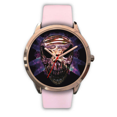 OKIKANA GOLD SKULL WATCH-Rose Gold Watch-wc-fulfillment-Mens 40mm-Pink Leather-SKULLZOPHRENIA