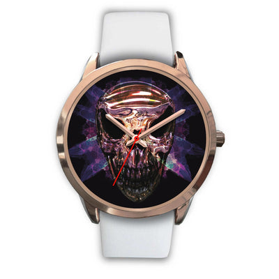 OKIKANA GOLD SKULL WATCH-Rose Gold Watch-wc-fulfillment-Mens 40mm-White Leather-SKULLZOPHRENIA