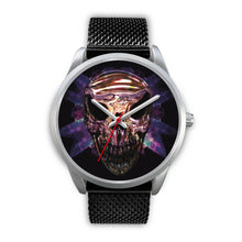 Load image into Gallery viewer, Okikana Premium Skull Watch-Silver Watch-wc-fulfillment-Mens 40mm-Black Metal Mesh-SKULLZOPHRENIA