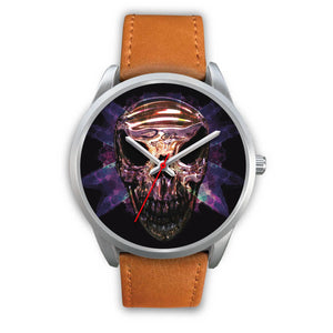 Okikana Premium Skull Watch-Silver Watch-wc-fulfillment-Mens 40mm-Brown Leather-SKULLZOPHRENIA
