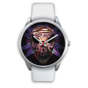 Okikana Premium Skull Watch-Silver Watch-wc-fulfillment-Mens 40mm-White Leather-SKULLZOPHRENIA