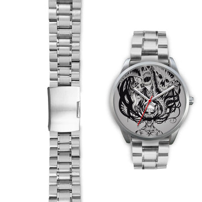 Platinum Ghost Watch-Silver Watch-wc-fulfillment-Mens 40mm-Silver Metal Link-SKULLZOPHRENIA