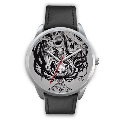Platinum Ghost Watch-Silver Watch-wc-fulfillment-Mens 40mm-Black Leather-SKULLZOPHRENIA