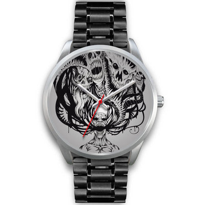 Platinum Ghost Watch-Silver Watch-wc-fulfillment-Mens 40mm-Black Metal Link-SKULLZOPHRENIA