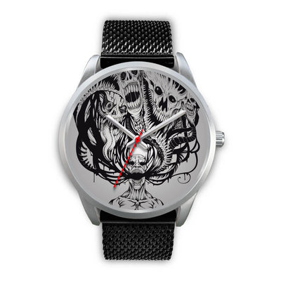 Platinum Ghost Watch-Silver Watch-wc-fulfillment-Mens 40mm-Black Metal Mesh-SKULLZOPHRENIA