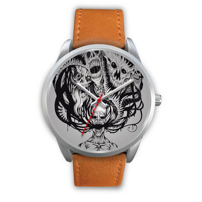 Platinum Ghost Watch-Silver Watch-wc-fulfillment-Mens 40mm-Brown Leather-SKULLZOPHRENIA
