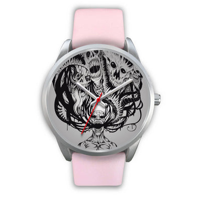 Platinum Ghost Watch-Silver Watch-wc-fulfillment-Mens 40mm-Pink Leather-SKULLZOPHRENIA