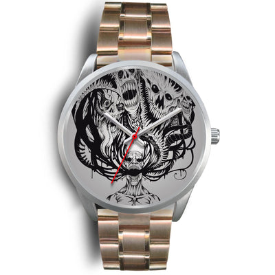 Platinum Ghost Watch-Silver Watch-wc-fulfillment-Mens 40mm-Rose Gold Metal Link-SKULLZOPHRENIA