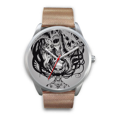 Platinum Ghost Watch-Silver Watch-wc-fulfillment-Mens 40mm-Rose Gold Metal Mesh-SKULLZOPHRENIA