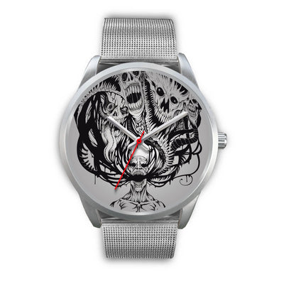 Platinum Ghost Watch-Silver Watch-wc-fulfillment-Mens 40mm-Silver Metal Mesh-SKULLZOPHRENIA