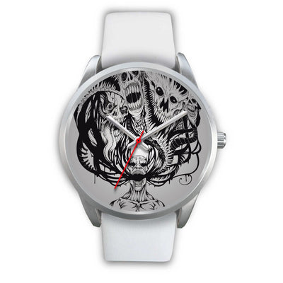 Platinum Ghost Watch-Silver Watch-wc-fulfillment-Mens 40mm-White Leather-SKULLZOPHRENIA