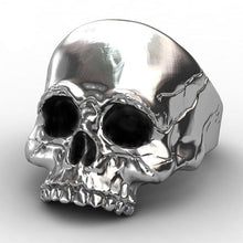 Load image into Gallery viewer, Half Skull Steel Ring