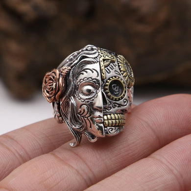Double Faced Sugar Skull Antique Ring