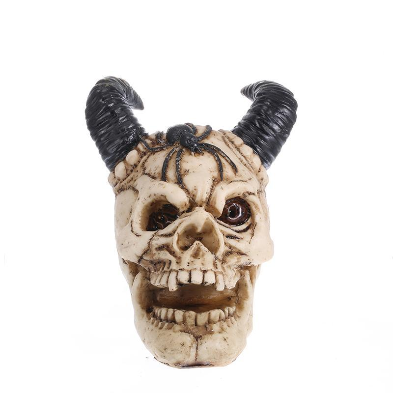 Horned Skull Head Sculpture
