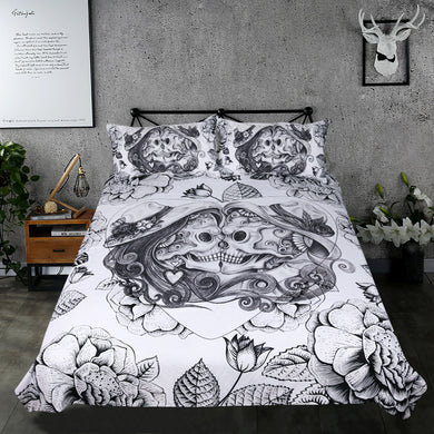 Day of the Dead Couple - 3D Skull Bedding Set