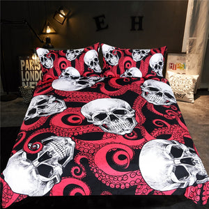 Red Dungeon - 3D Skull Bedding Set
