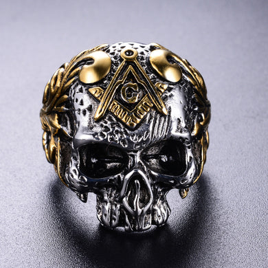 Freemasonry Skull Stainless Steel Ring