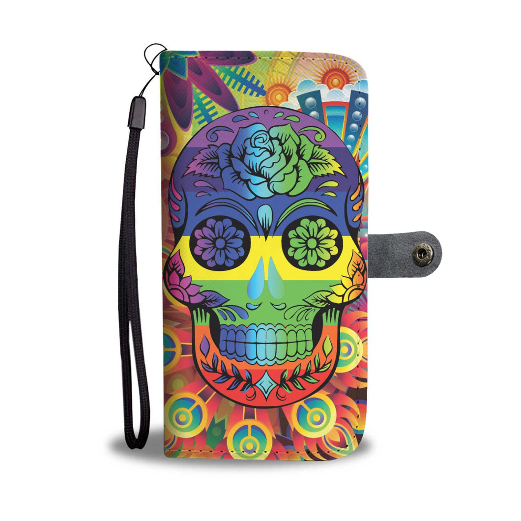 Rainbow Skull Wallet Phone Case-Wallet Case-wc-fulfillment-SKULLZOPHRENIA