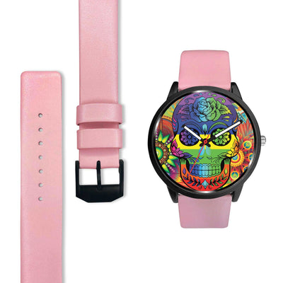 Rainbow Skull Watch-Watch-wc-fulfillment-Mens 40mm-Pink-SKULLZOPHRENIA