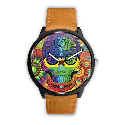 Rainbow Skull Watch-Watch-wc-fulfillment-Mens 40mm-Brown-SKULLZOPHRENIA
