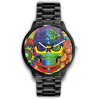 Rainbow Skull Watch-Watch-wc-fulfillment-Mens 40mm-Metal Link-SKULLZOPHRENIA