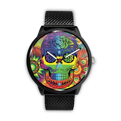 Rainbow Skull Watch-Watch-wc-fulfillment-Mens 40mm-Metal Mesh-SKULLZOPHRENIA