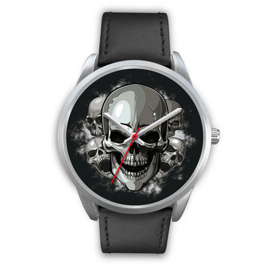 Silver Cranials Watch-Silver Watch-wc-fulfillment-Mens 40mm-Black Leather-SKULLZOPHRENIA