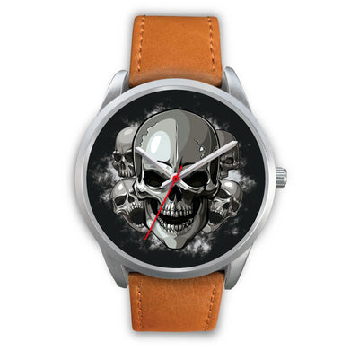 Silver Cranials Watch-Silver Watch-wc-fulfillment-Mens 40mm-Brown Leather-SKULLZOPHRENIA