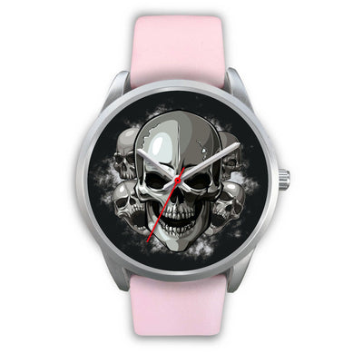 Silver Cranials Watch-Silver Watch-wc-fulfillment-Mens 40mm-Pink Leather-SKULLZOPHRENIA