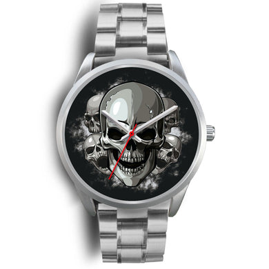Silver Cranials Watch-Silver Watch-wc-fulfillment-Mens 40mm-Silver Metal Link-SKULLZOPHRENIA