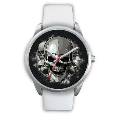 Silver Cranials Watch-Silver Watch-wc-fulfillment-Mens 40mm-White Leather-SKULLZOPHRENIA