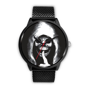 The Silencer Black Skull Watch-Black Watch-wc-fulfillment-Mens 40mm-Black Metal Mesh-SKULLZOPHRENIA