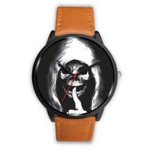 Load image into Gallery viewer, The Silencer Black Skull Watch-Black Watch-wc-fulfillment-Mens 40mm-Brown Leather-SKULLZOPHRENIA