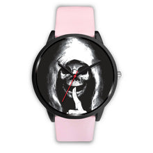 Load image into Gallery viewer, The Silencer Black Skull Watch-Black Watch-wc-fulfillment-Mens 40mm-Pink Leather-SKULLZOPHRENIA