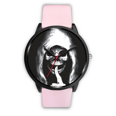 The Silencer Black Skull Watch-Black Watch-wc-fulfillment-Mens 40mm-Pink Leather-SKULLZOPHRENIA