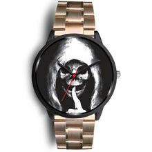 Load image into Gallery viewer, The Silencer Black Skull Watch-Black Watch-wc-fulfillment-Mens 40mm-Rose Gold Metal Link-SKULLZOPHRENIA