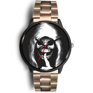 The Silencer Black Skull Watch-Black Watch-wc-fulfillment-Mens 40mm-Rose Gold Metal Link-SKULLZOPHRENIA