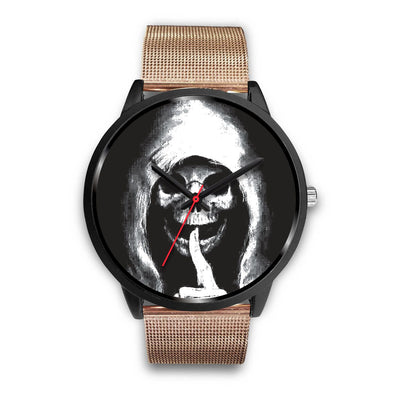 The Silencer Black Skull Watch-Black Watch-wc-fulfillment-Mens 40mm-Rose Gold Metal Mesh-SKULLZOPHRENIA