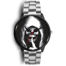 Load image into Gallery viewer, The Silencer Black Skull Watch-Black Watch-wc-fulfillment-Mens 40mm-Silver Metal Link-SKULLZOPHRENIA