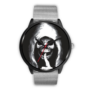 The Silencer Black Skull Watch-Black Watch-wc-fulfillment-Mens 40mm-Silver Metal Mesh-SKULLZOPHRENIA