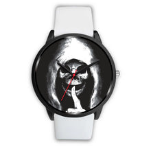 Load image into Gallery viewer, The Silencer Black Skull Watch-Black Watch-wc-fulfillment-Mens 40mm-White Leather-SKULLZOPHRENIA