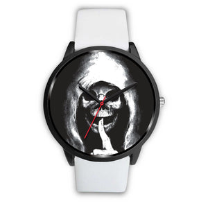 The Silencer Black Skull Watch-Black Watch-wc-fulfillment-Mens 40mm-White Leather-SKULLZOPHRENIA