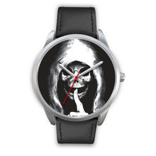 Load image into Gallery viewer, The Silencer Silver Skull Watch-Silver Watch-wc-fulfillment-Mens 40mm-Black Leather-SKULLZOPHRENIA