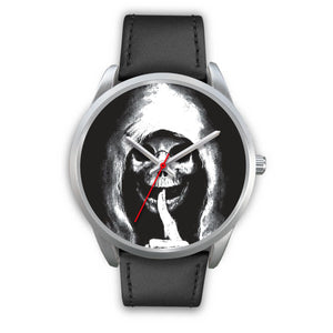 The Silencer Silver Skull Watch-Silver Watch-wc-fulfillment-Mens 40mm-Black Leather-SKULLZOPHRENIA